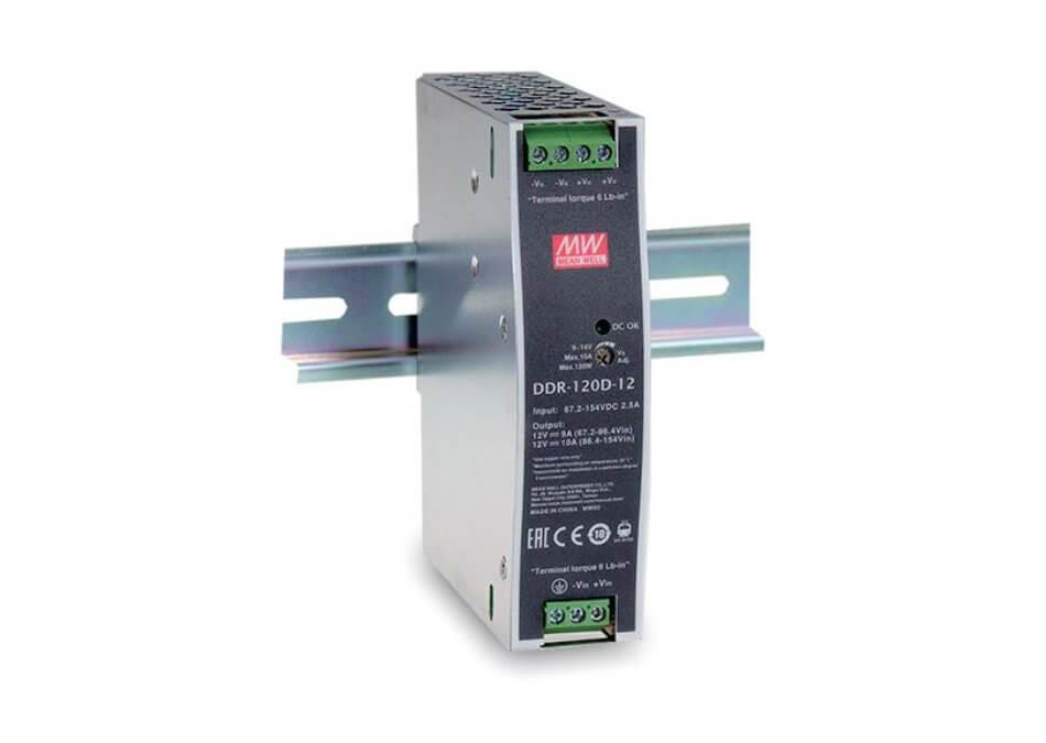 MEAN WELL predstavlja svoj prvi DC/DC pretvornik za DIN letev model DDR-120
